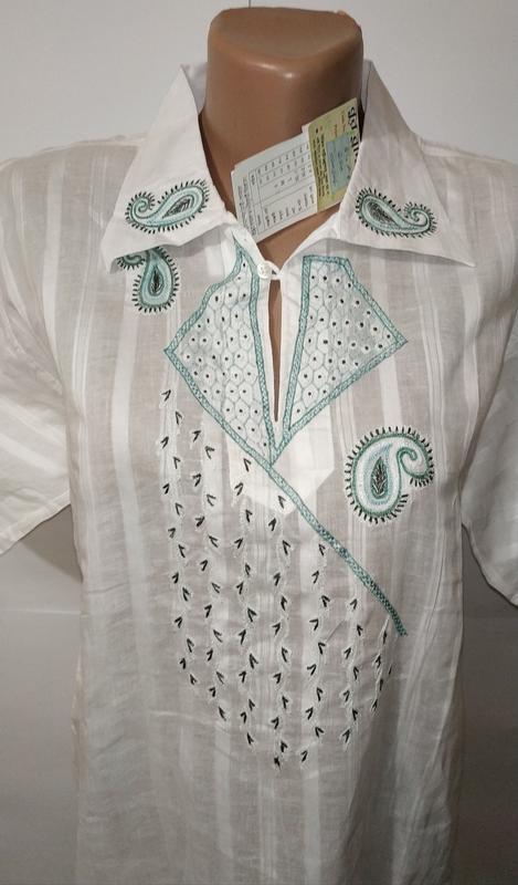 Белая новая хлопковая рубашка с вышивкой uk 16 / 44 / xl - Фото 4