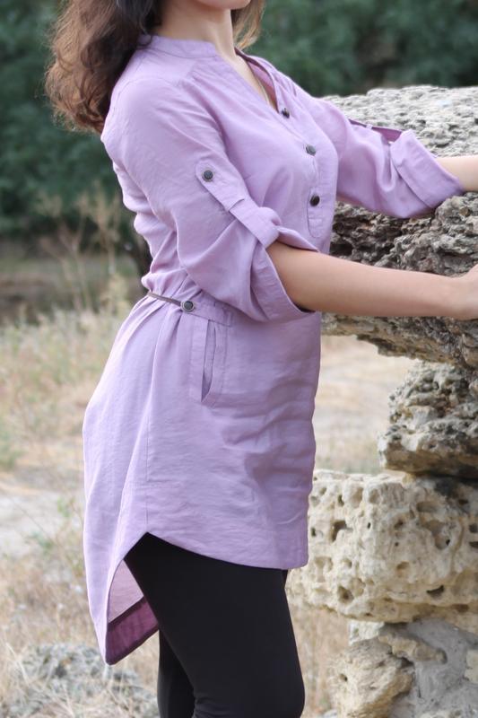 Рубашка туника кофточка удлиненная сиреневая