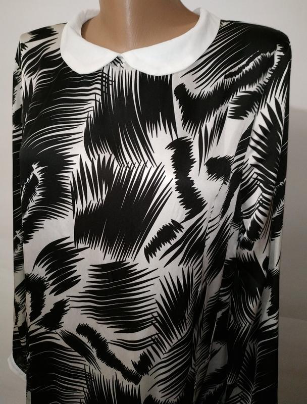 Стильное платье свободного кроя в тропический принт с карманам... - Фото 3