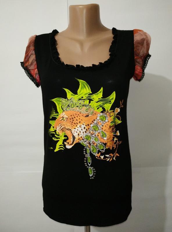 Вискозная блуза футболка с принтом uk 14/42/l
