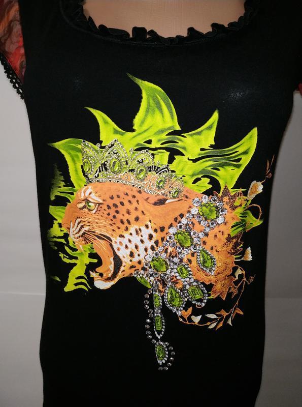Вискозная блуза футболка с принтом uk 14/42/l - Фото 3