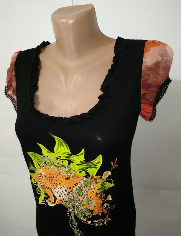 Вискозная блуза футболка с принтом uk 14/42/l - Фото 4