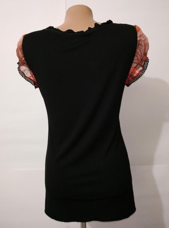 Вискозная блуза футболка с принтом uk 14/42/l - Фото 5