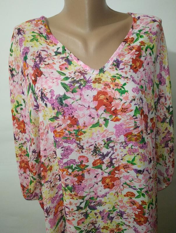 Цветочная блуза туника свободного кроя кимоно uk 12-14/40-42/m - Фото 2