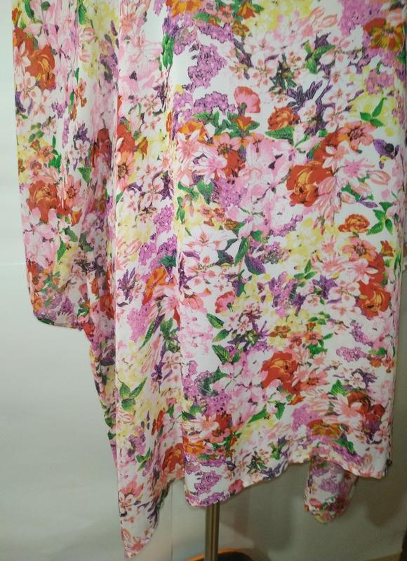 Цветочная блуза туника свободного кроя кимоно uk 12-14/40-42/m - Фото 3