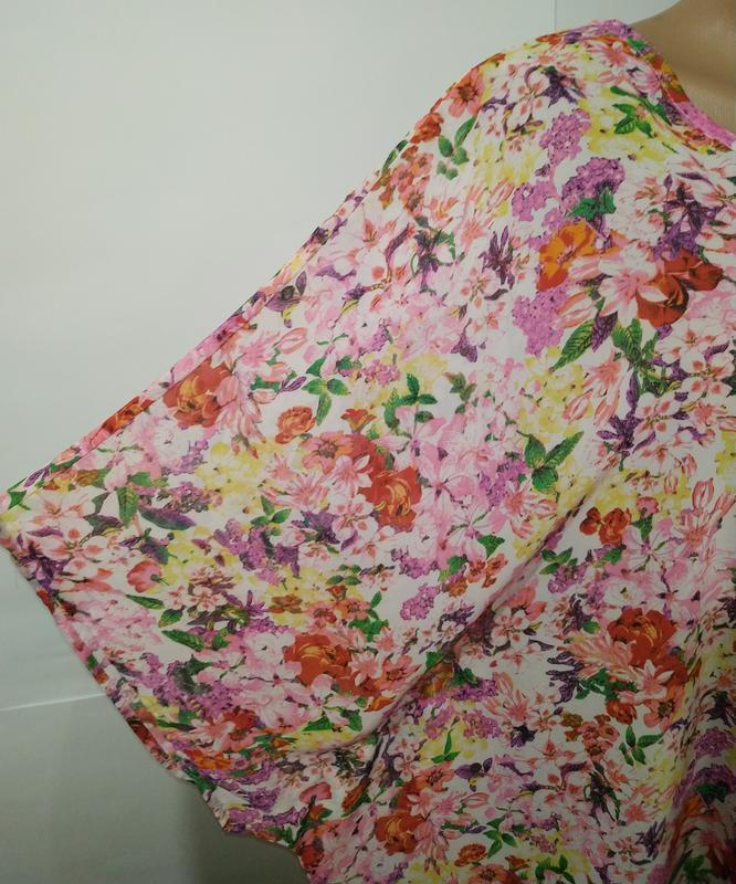 Цветочная блуза туника свободного кроя кимоно uk 12-14/40-42/m - Фото 5