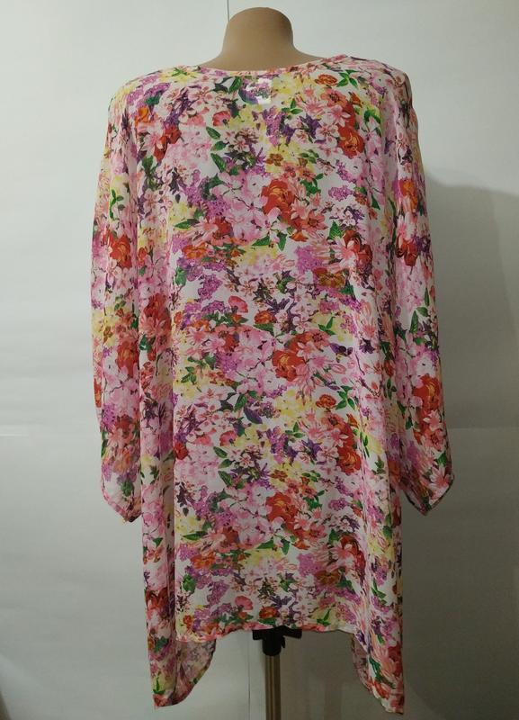 Цветочная блуза туника свободного кроя кимоно uk 12-14/40-42/m - Фото 7