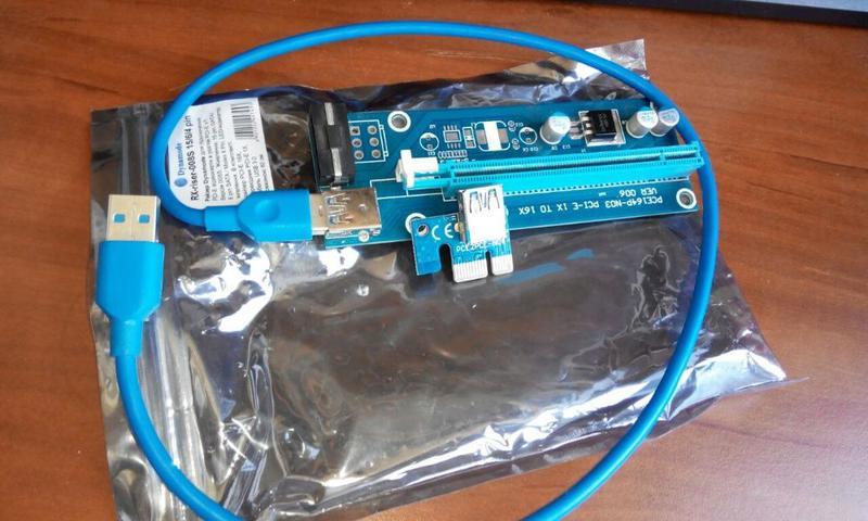 Райзер для подключения видеокарты PCI Express 4pin molex usb