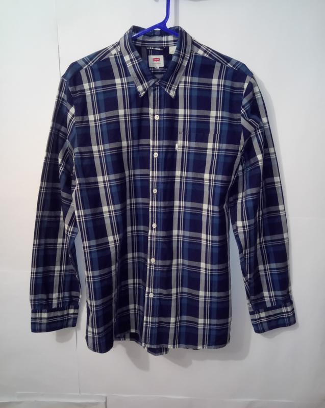 Хлопковая оригинальная рубашка в клетку levis xl/52/42