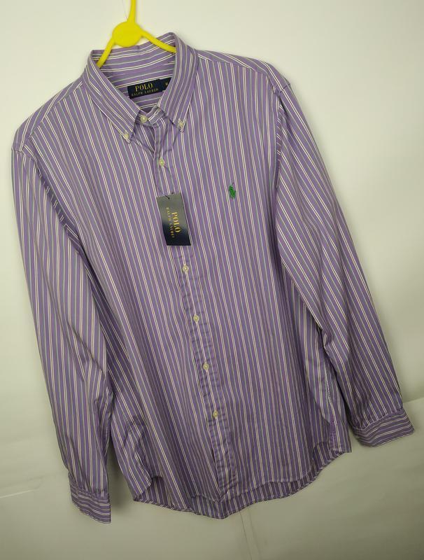 Рубашка новая хлопковая оригинальная в полоску ralph lauren ра...