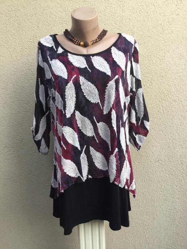 Блуза многослойная,кофточка,saloos,англия,большой размер,вискоза