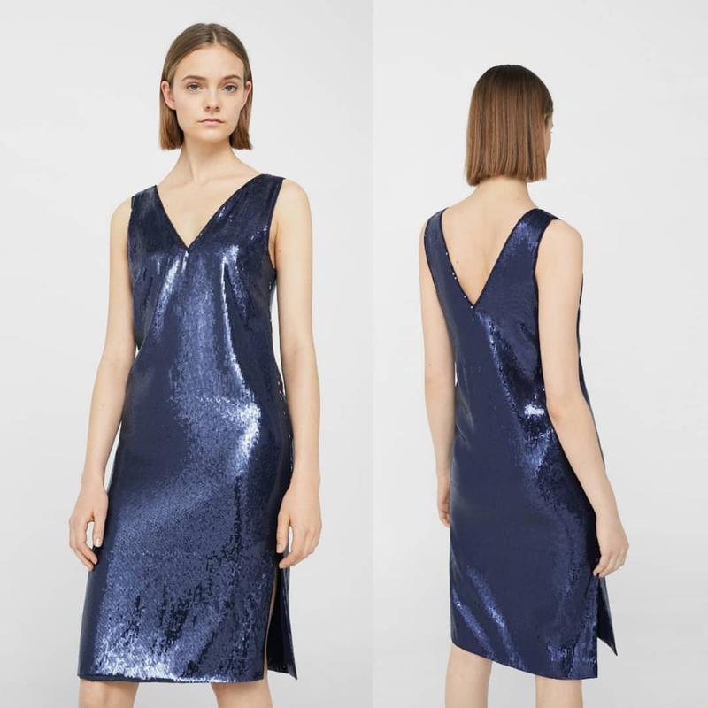 Синее нарядное платье миди с пайетками mango xs,нарядное празд...