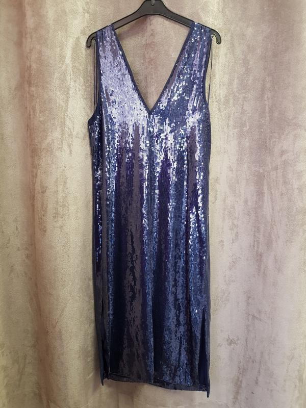 Синее нарядное платье миди с пайетками mango xs,нарядное празд... - Фото 3