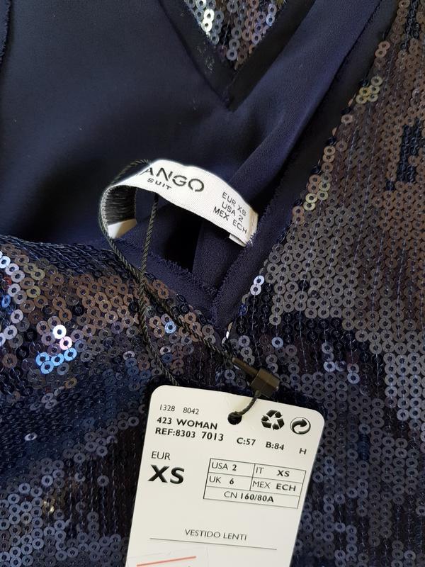Синее нарядное платье миди с пайетками mango xs,нарядное празд... - Фото 4