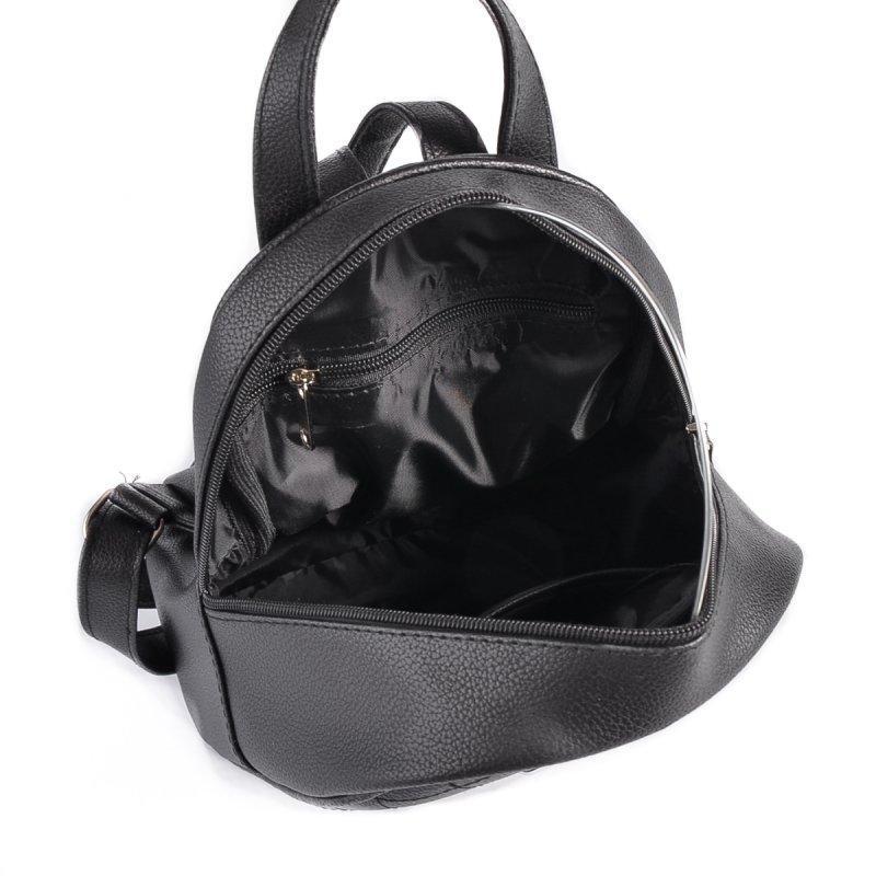 Маленький женский рюкзак из эко-кожи, мини рюкзак черный стеганый - Фото 4