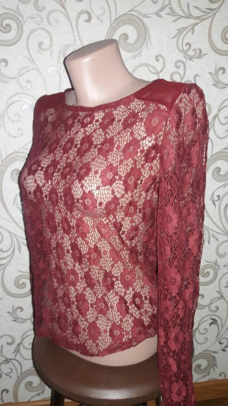 Ажурная блузка цвет марсала
