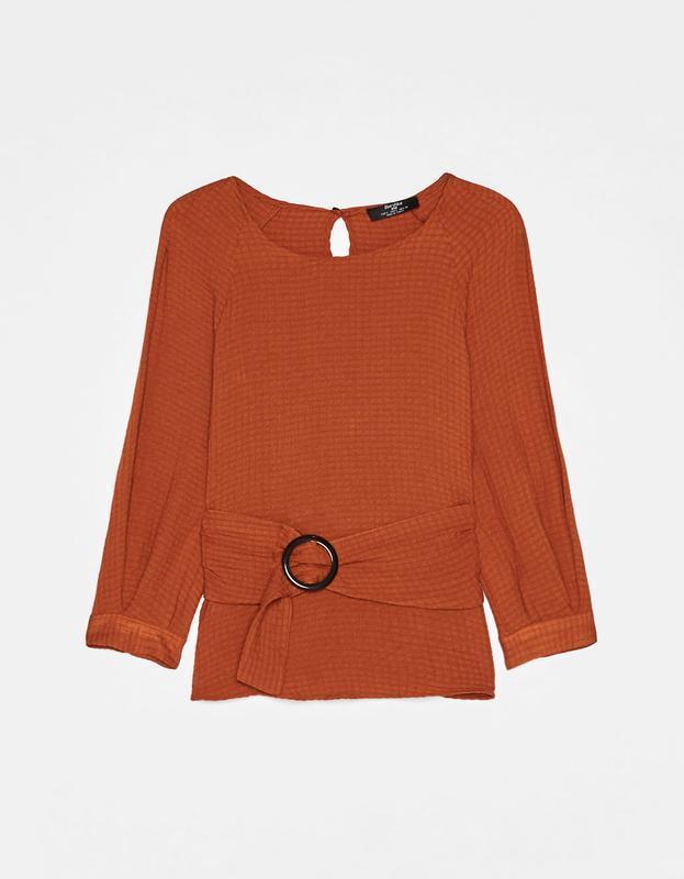 Блуза з поясом bershka - Фото 5