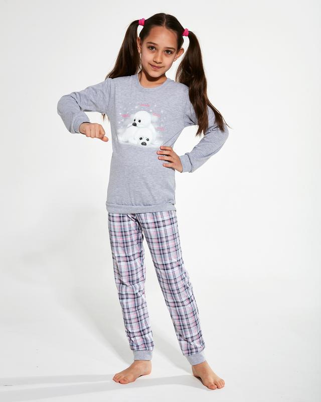 Домашняя хлопковая пижама на девочку серого цвета cornette 594...