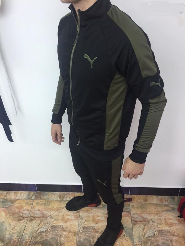 Костюм спортивный мужской pm 8997-107 черный с зеленым