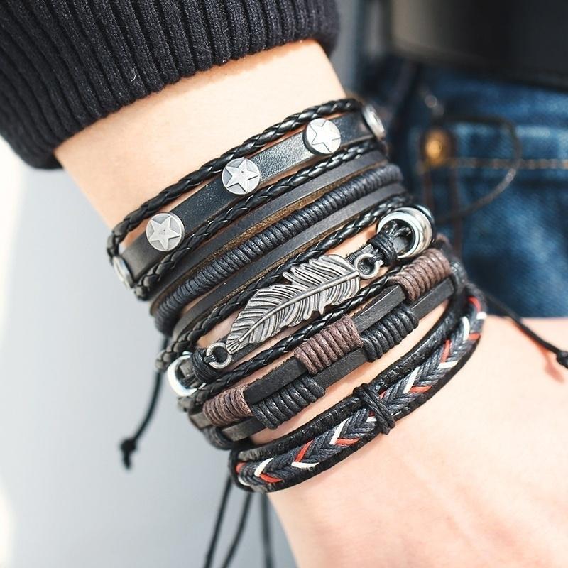 Винтажный кожаный браслет