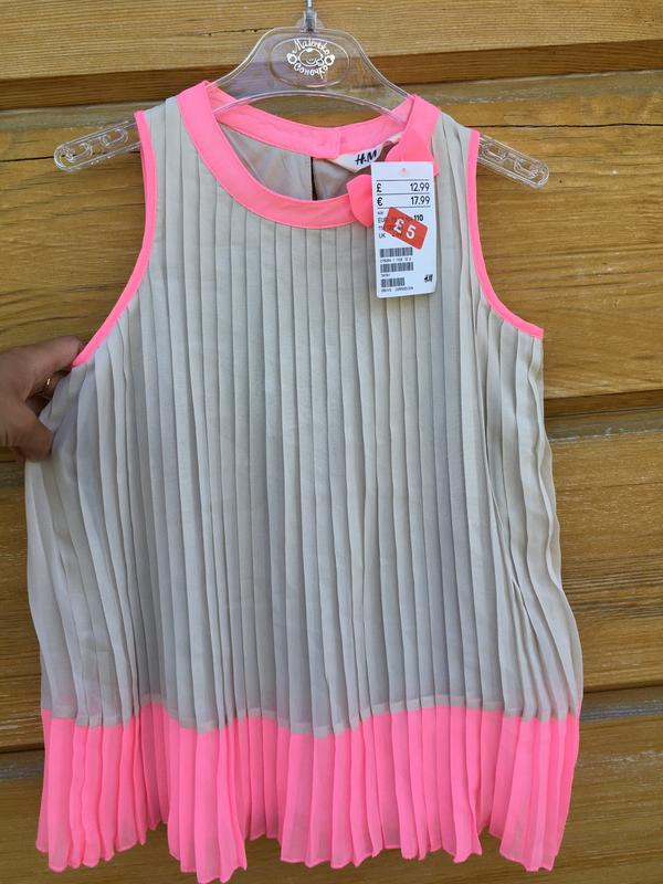 Яркая плисерованая блуза,блузка плисе, блуза h&m