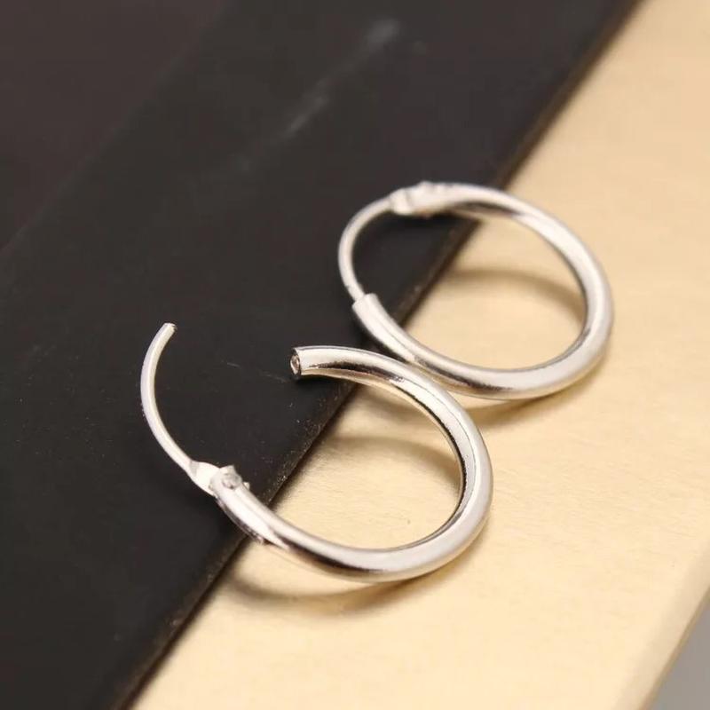 Серьги-конго под серебро, серьги-кольца круглые