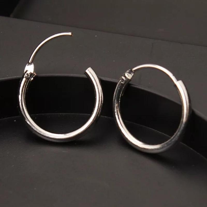 Серьги-конго под серебро, серьги-кольца круглые - Фото 2