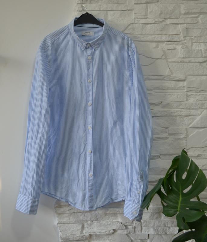 Классическая  коттоновая heбесно-голубая   рубашка в полосочку - Фото 2