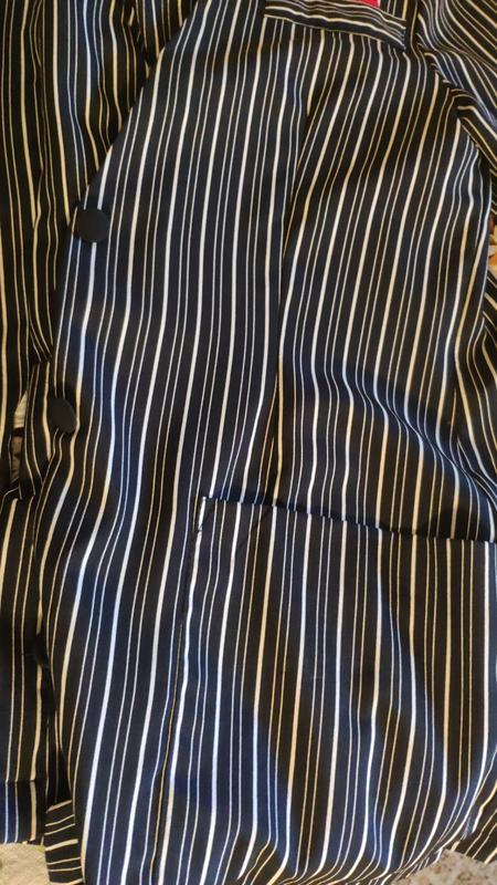 Тренд платье-пиджак в полоску жакет с карманами на пуговицах о... - Фото 8