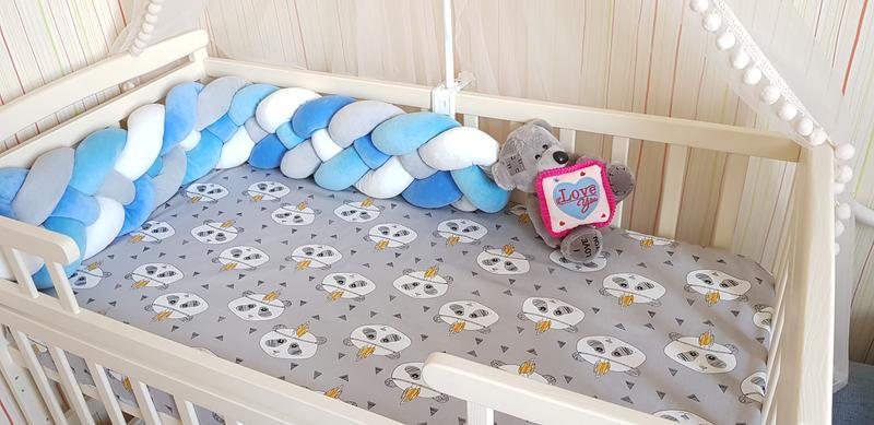 Бортик коса косичка защита простынь в детскую кроватку - Фото 7