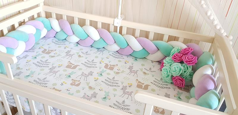 Бортик коса косичка защита простынь в детскую кроватку - Фото 2