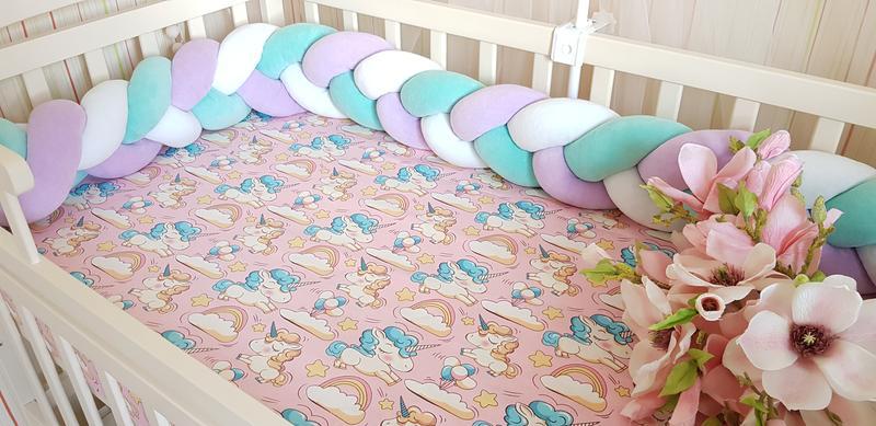 Бортик коса косичка защита простынь в детскую кроватку - Фото 15
