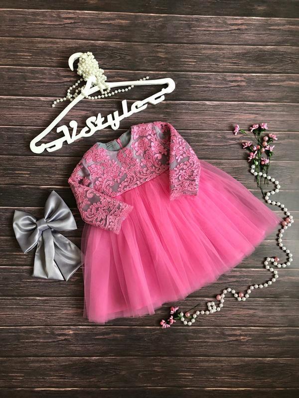 Розовое кружевное платье для девочки - Фото 2