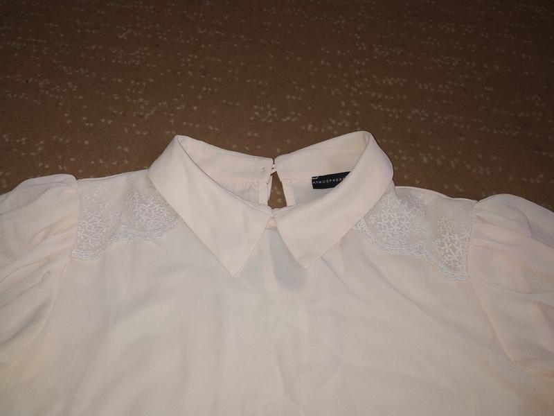 Нежнорозовая шифоновая блуза с воротником - Фото 2