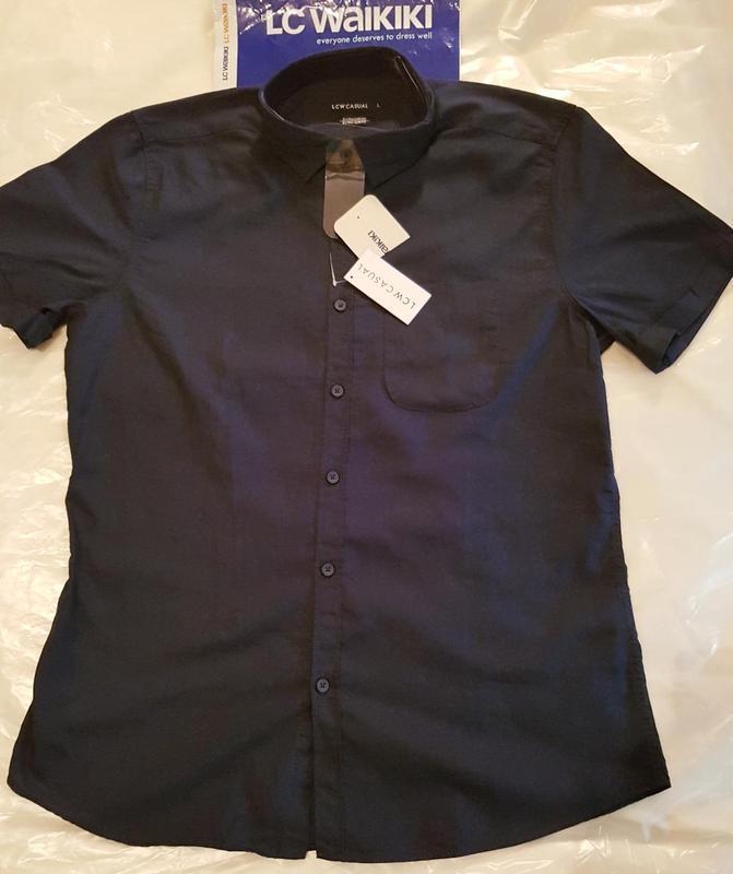 Мужская рубашка lc waikiki / лс вайкики с коротким рукавом син... - Фото 2