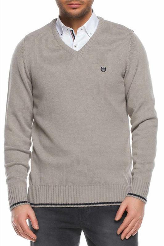 Серый мужской свитер de facto / де факто с синей полоской