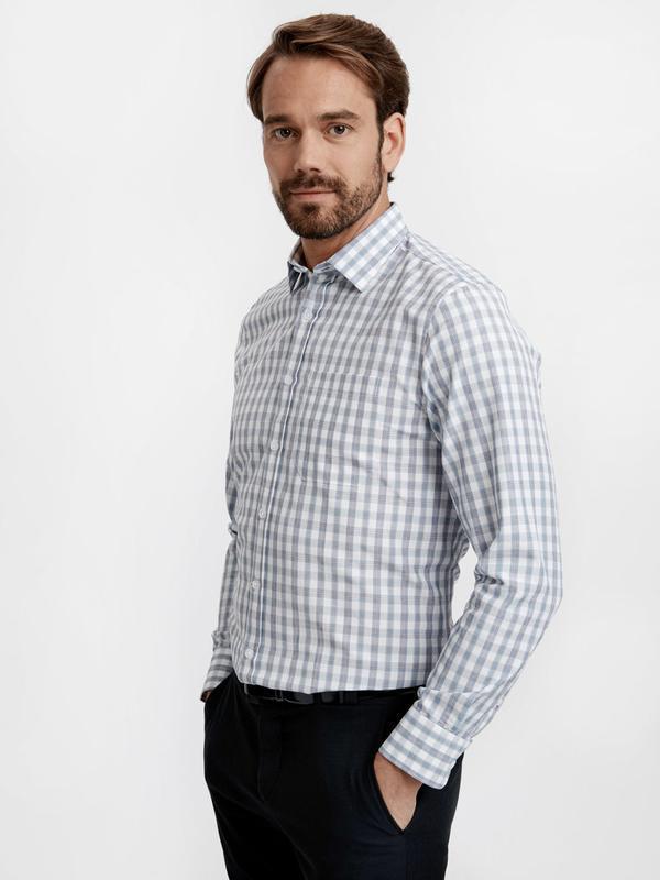 Белая мужская рубашка lc waikiki / лс вайкики в голубую и крас...