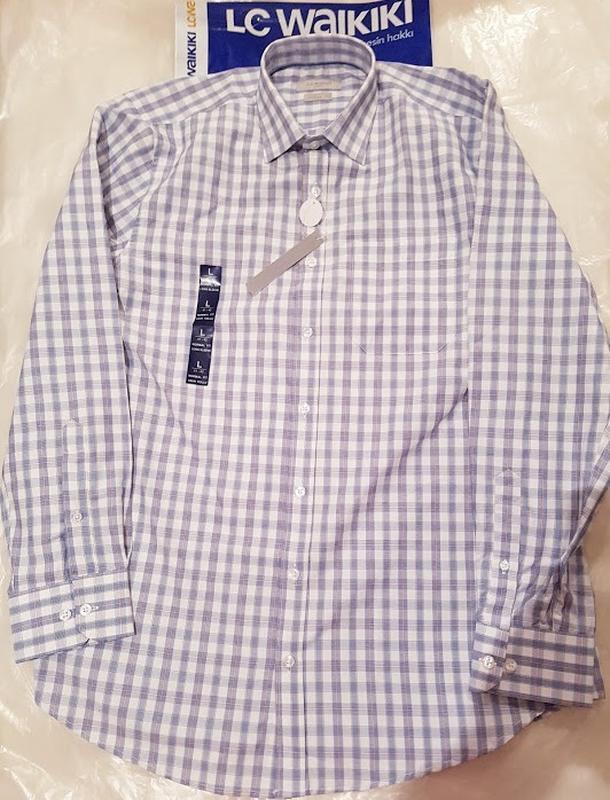 Белая мужская рубашка lc waikiki / лс вайкики в голубую и крас... - Фото 2