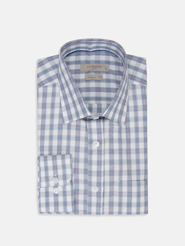 Белая мужская рубашка lc waikiki / лс вайкики в голубую и крас... - Фото 5