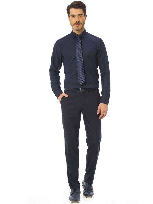 Мужская рубашка синяя lc waikiki / лс вайкики - Фото 4