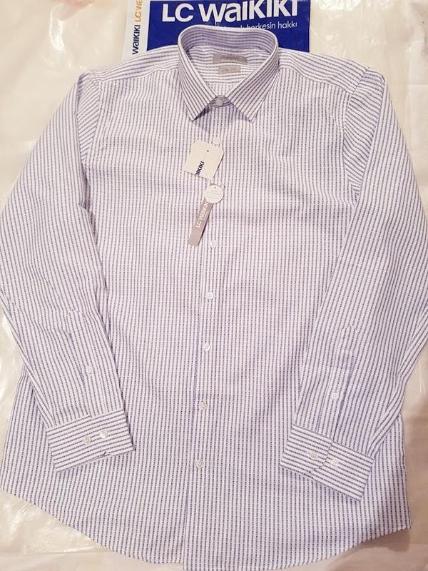 Белая мужская рубашка lc waikiki / лс вайкики в синюю полоску - Фото 2