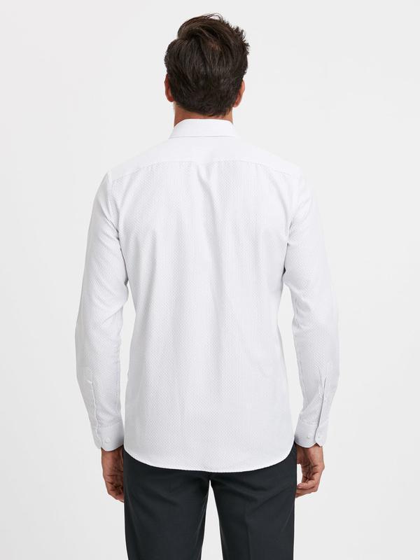 Белая мужская рубашка lc waikiki / лс вайкики в синюю полоску - Фото 3