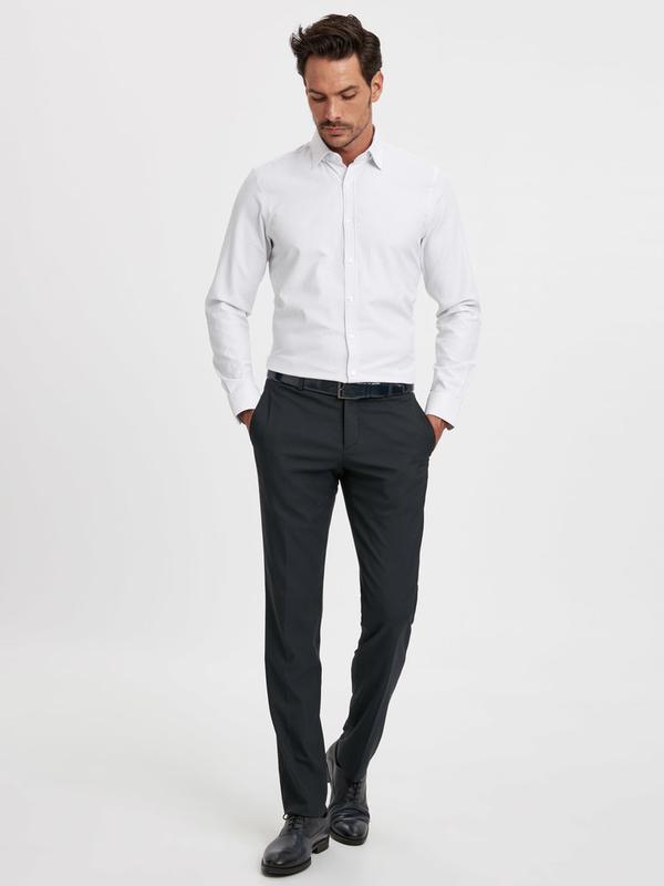 Белая мужская рубашка lc waikiki / лс вайкики в синюю полоску - Фото 4