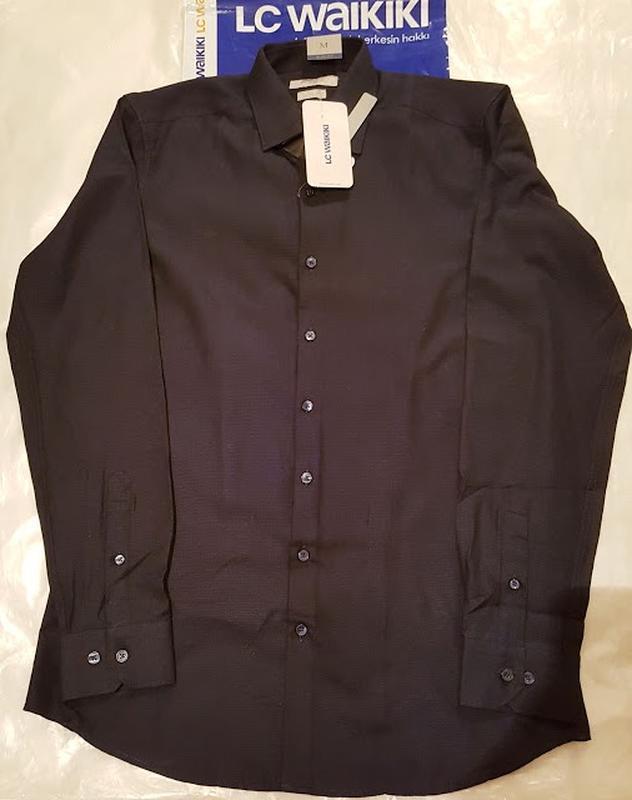 Мужская рубашка черная lc waikiki / лс вайкики на черных пугов... - Фото 2