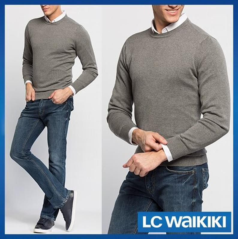 Cерый мужской свитер lc waikiki / лс вайкики с круглой горловиной