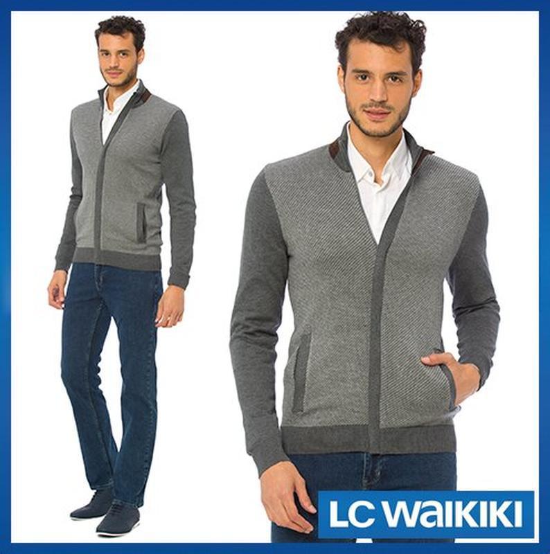 Деловой мужской кардиган серый lc waikiki / лс вайкики на молн...