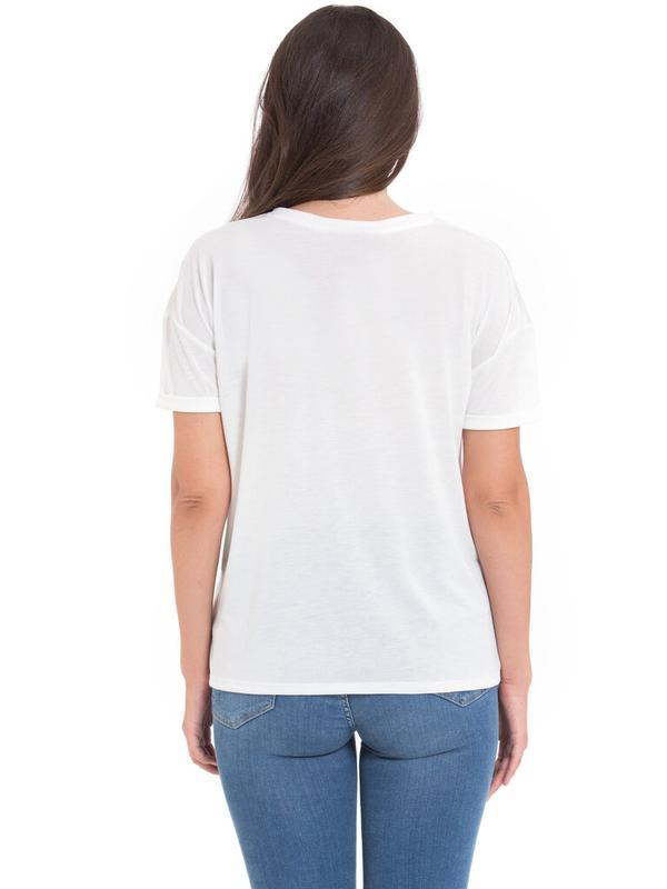 Белая женская футболка lc waikiki / лс вайкики с красными маками - Фото 3