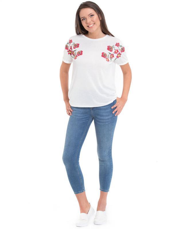 Белая женская футболка lc waikiki / лс вайкики с красными маками - Фото 4