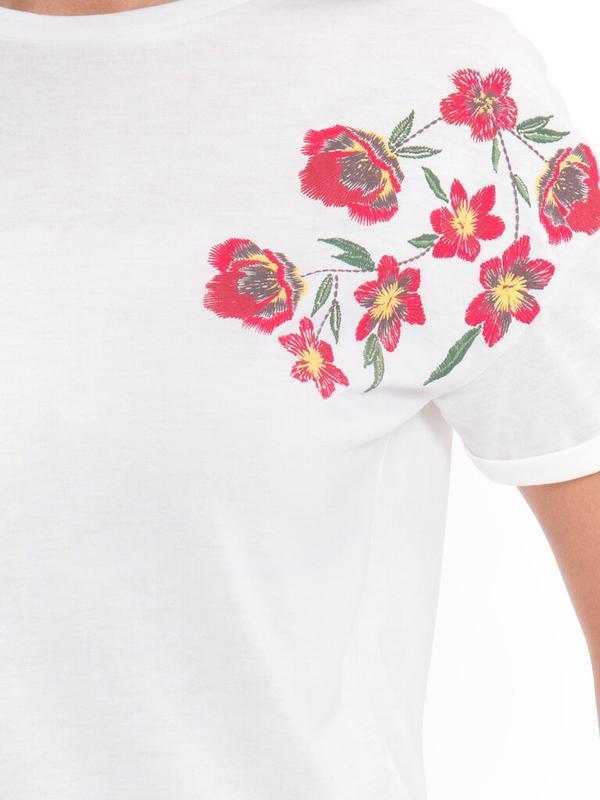 Белая женская футболка lc waikiki / лс вайкики с красными маками - Фото 5