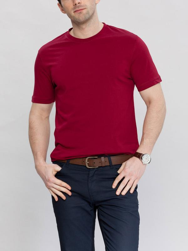 Мужская футболка бордовая lc waikiki / лс вайкики с круглым вы...